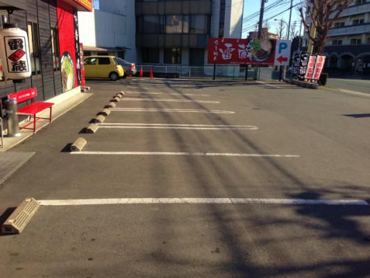 ラーメン雷蔵の駐車場