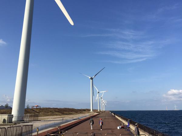 2014年最後の大会は風力発電を眺め潮風に吹かれる【ウォーク若松編】