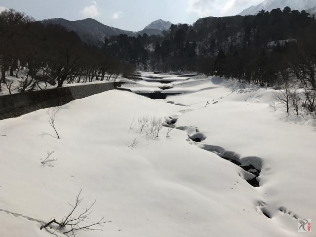 雪に埋もれた佐陀川