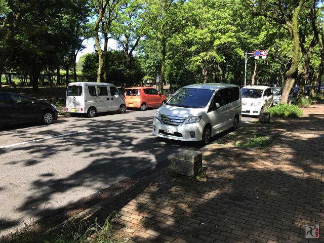 名城公園の路上駐車群