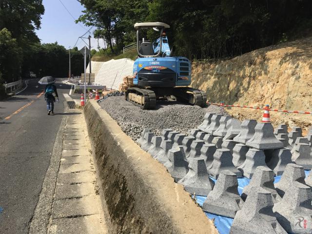 高塔山の道路拡張工事