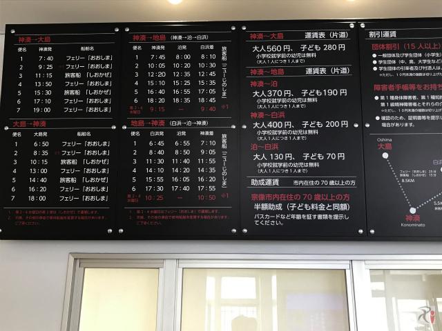 神湊港渡船ターミナル時刻表