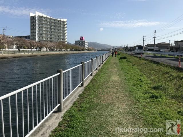 金山川南側の河川敷遊歩道
