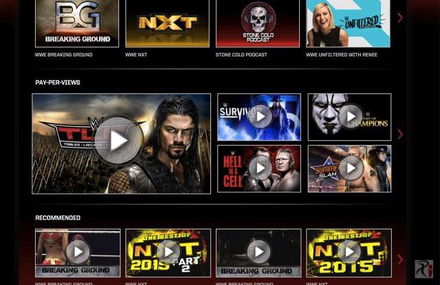 WWEネットワークトップ画面