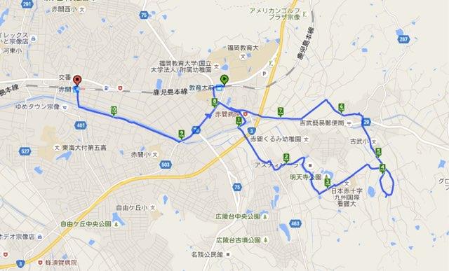 Walk教育大前コースマップ