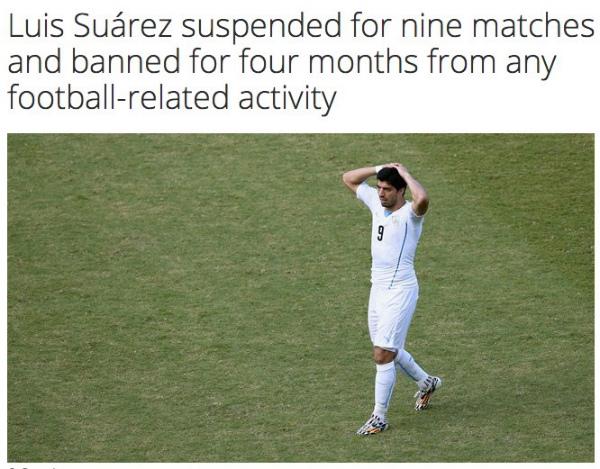 【速報】ウルグアイ・スアレスに9試合出場停止他の処分が下されたようです